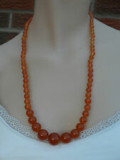 """Beautiful 23.5"""" Vintage Amber Glass Graduated Bead Necklace 95gr"""