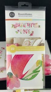 NEW RoomMates Beautiful Love 22 Piece Wall Decals Pink Floral Peel & Stick