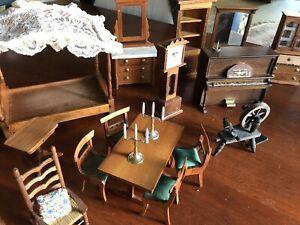 Vintage Wood Dolls House Furniture 1970's - Bulk Lot 22 Pieces