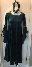 Dark Green Velvet Renaissance dress with Head piece Childs Medium