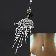 Fashion Silver Plated Crystal Tassel Dangle Navel Belly Button Ring Bar Piercing
