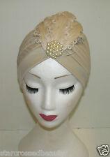 Color Carne Crema pluma turbante Accesorio para PELO AÑOS 20 1930 Vintage Perla