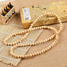 """Plain Wood Beads Wooden Necklace 28"""" Long Hip-Hop Rosary Beaded Necklace Chain"""