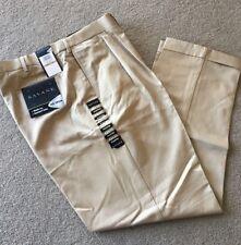 Savane No Iron Pleated Pants Trousers Antelope Khaki 42x32 NWT Men's 42 NEW!