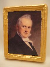 James Buchanan American President Rare Gold Art Icon on Natural Pine Wood Plaque