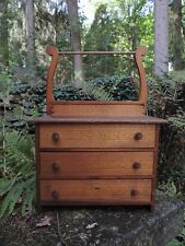 Antique Primitive Child's Toy Pressed Wood Doll Dresser/Chest Folk Art Oak/Pine