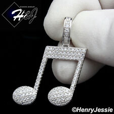 MEN WOMEN 925 STERLING SILVER LAB DIAMOND ICED MUSIC NOTE CHARM PENDANT*SP153