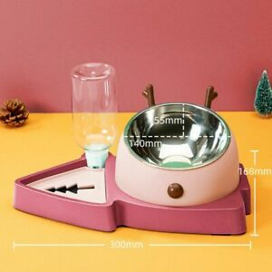 Dog Pet Automatic Feeder Water Food Bowl Drinking Bottle Cat Christmas Gift