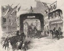 Triumphal arch in Tavern Street, Ipswich. Prince Albert visiting. Suffolk, 1851
