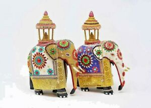 Elephant Statue wooden Hand Made Lucky Animal Office Decor GIFT ITEM