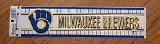 1980s OLD LOGO MILWAUKEE BREWERS BUMPER STICKER DECAL UNUSED Unsold Stock