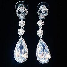 EARRING using Swarovski Crystal Dangle Drop Wedding Bridal Rhodium Silver CZ38