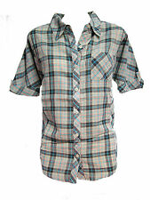 BRAND NEW BILLABONG WOMENS COLLARED PLAID BUTTON DOWN BLOUSE DOLMAN SHIRT TOP S