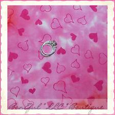 BonEful Fabric FQ Cotton Quilt BATIK Pink Red White Hippie Valentine Heart Solid
