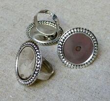 Antique silver ring élément réglage base - 10 pcs