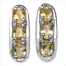 Romantische 1,20 Carat goldene Citrin Ohrstecker mit Herz  Ohrring 925 Silber