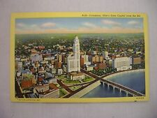 VINTAGE LINEN POSTCARD OF THE STATE CAPITOL FROM THE AIR IN COLUMBUS, OHIO