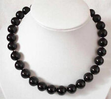 8mm Black Agate Gemstone Round Beads Chain Necklace 18''AAA