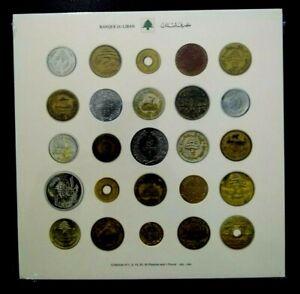 LEBANON 2012 - UNC COLLECTION OF (5) ,5,10,25,50,1 POUND COINS ,1925-86  ALBUM