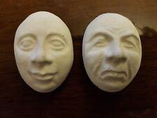 2 pequeños rostros tirando de goma látex Molde Molde de escayola placas de pared de hormigón Nuevo