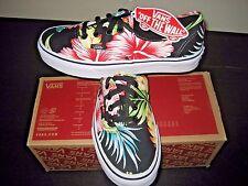 Vans Authentic Womens Hawaiian Floral Black Canvas shoes Size 8.5 VN000ZUKFFZ