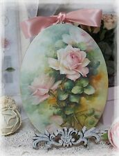 "~ Pink Roses"" Vintage ~ Shabby Chic Country ~ Cottage style ~ Wall Decor Sign ~"