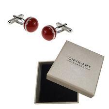Mens Red Cricket Ball Sport Cufflinks & Gift Box By Onyx Art
