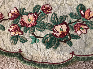 Antique Embroidery Floral Crewel Bed Curtains Pair of 10' And 18 Foot Panels