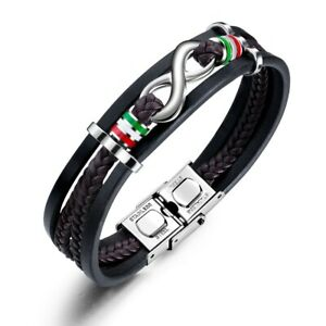 Bracelet Love Infinity Leather Stainless Steel Black Wristband Mens Multi-Layer.