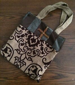 Purse Handbag Brown Geometric Design