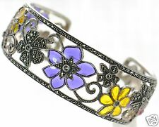 Solid 925 Sterling Silver Multi-color Enamel & Marcasite Openwork Cuff Bracelet'