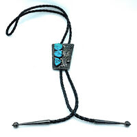 Vintage 1960's Navajo Sterling Silver & China Mountain Turquoise Bolo Tie