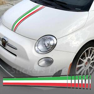 Adesivo COFANO Fiat 500 595 695 Abarth Tricolore Italia + effetto carbonio