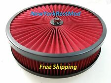 14x3 Air Cleaner Washable Filter & Top fits Edelbrock Holley Quadrajet Carbs NEW