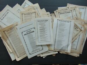 100 ANTIQUE MID 19th CENTURY SONG SHEETS / BROADSIDES including some CIVIL WAR