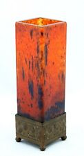 French art deco, Pate de Verre glass Vase, square form in metal mount, Schneider