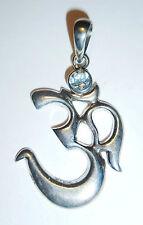 Anhänger Kette OM Symbol ECHT 925 Silber AQUAMARIN ! Amulett AUM Zeichen SS105