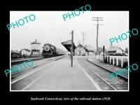 OLD LARGE HISTORIC PHOTO OF SAYBROOK CONNECTICUT THE RAILROAD DEPOT c1920