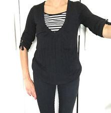 Nursing Breastfeeding Stripe Top Black & White BNWT