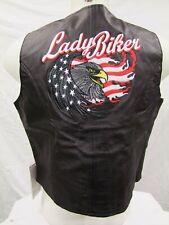 """Ladies Leather Motorcycle Waistcoat - Lady Biker 42"""""""