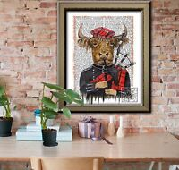 Scottish Vintage Dictionary Art Print. Highland Cow with Tartan Hat and Bagpipes
