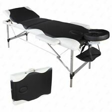 3 Sections Folding Aluminum Tube Spa Bodybuilding Massage Table Black with White