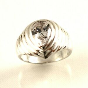 Solid Sterling Silver .925 Classic Pear Cubic Zirconia Solitaire Ring TPJ