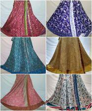 lot of 10 Piece Indian Reversible Magic Wrap Skirt Two Layer Silk Sari Mix Skirt