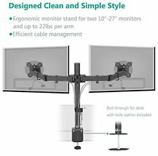 Dual LCD Monitor Desk Mount Stand Swivel Rotate Arm Adjustable Screen Display