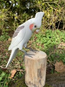 Hand Carved Wooden Painted Cockatiel Cockatoo Tree Garden Ornament Bird Carving