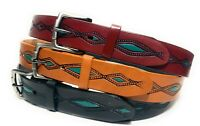 MEN'S WESTERN LEATHER BELT. TURQUOISE DECORATED NEW MEXICO STYLE COWBOY BELT