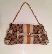 Authentic Gucci Monogram Beige Print Shoulder Clutch Bag Stripes And Gold Chain