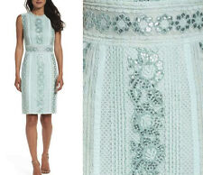 NWT Tadashi Shoji Doris Roundneck Sleeveless Floral Sheath Dress Frosted Jade 12