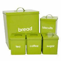 LIME METAL 5 PIECE BREAD BIN AND CANISTERS SUGAR COFFEE TEA BISCUIT KITCHEN SET